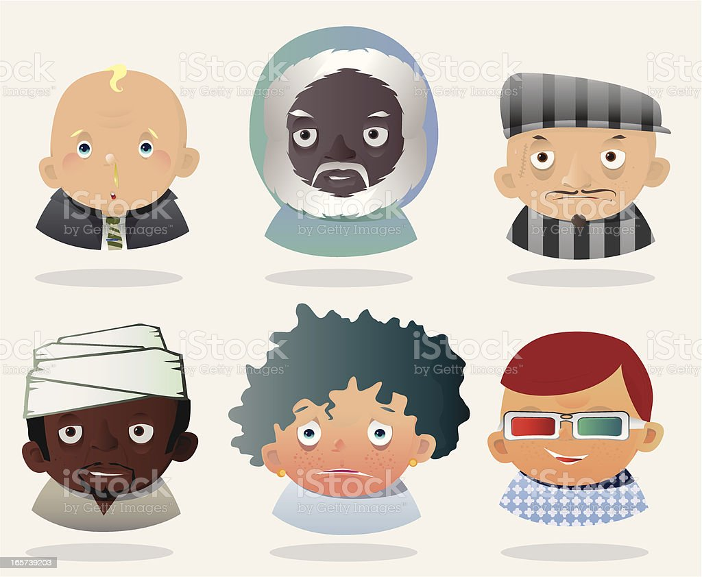 People Faces 9 royalty-free stock vector art