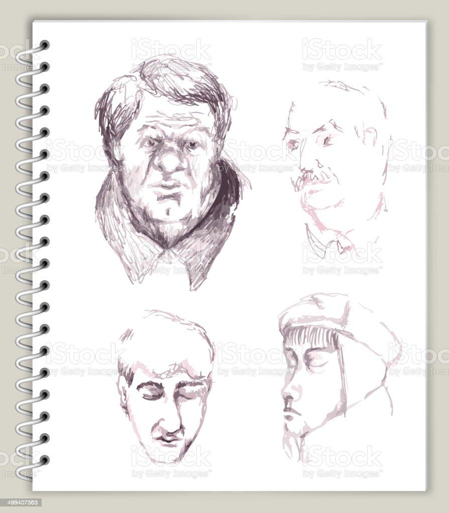 People Faces Drawing on Art Sketcbook royalty free vector art royalty-free stock vector art
