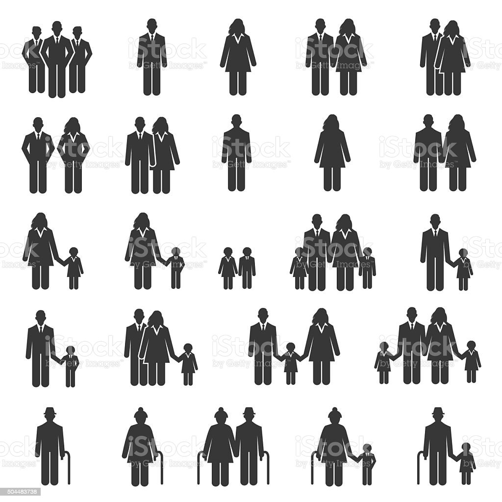 People Family Icons - Illustration vector art illustration