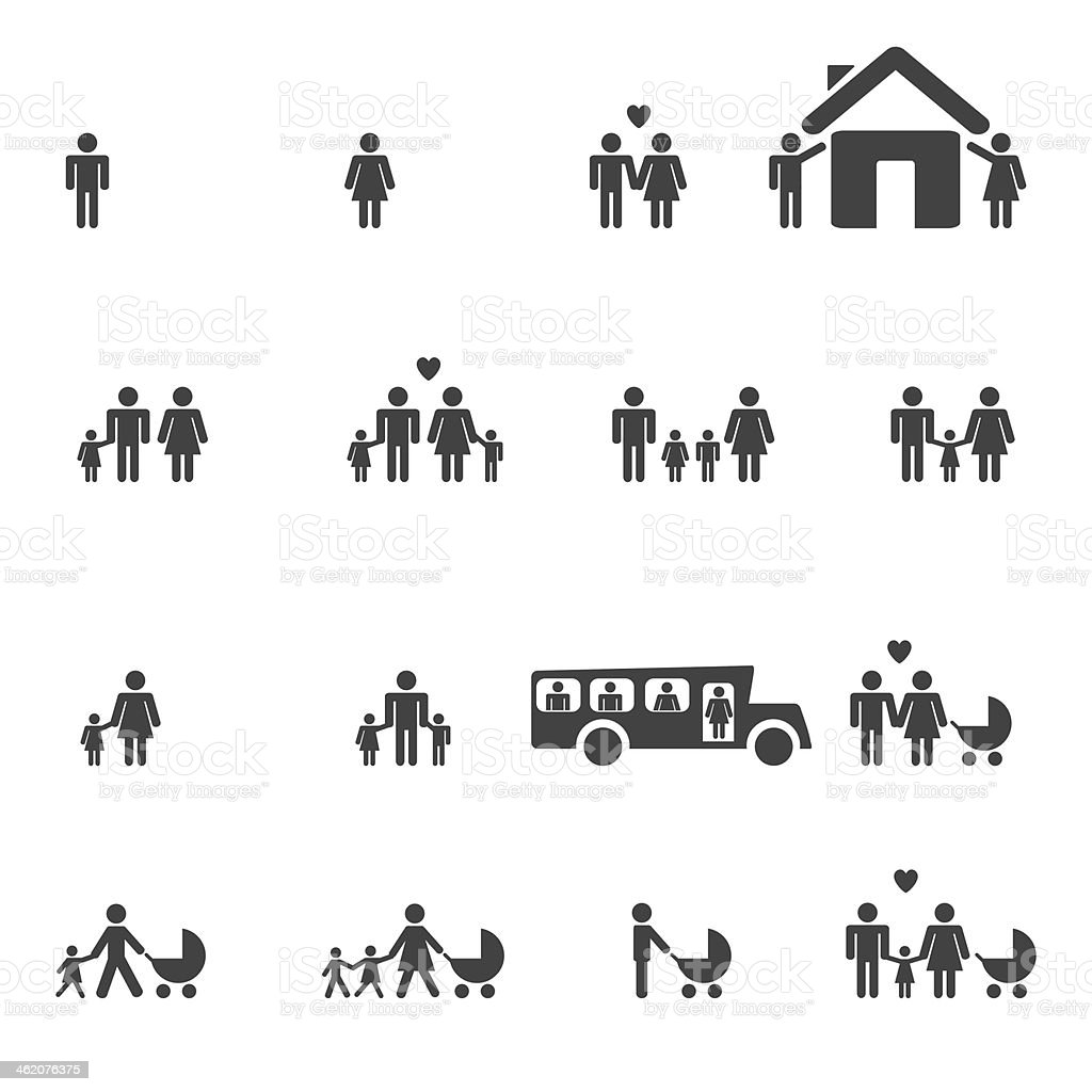 People Family Pictogram. vector art illustration