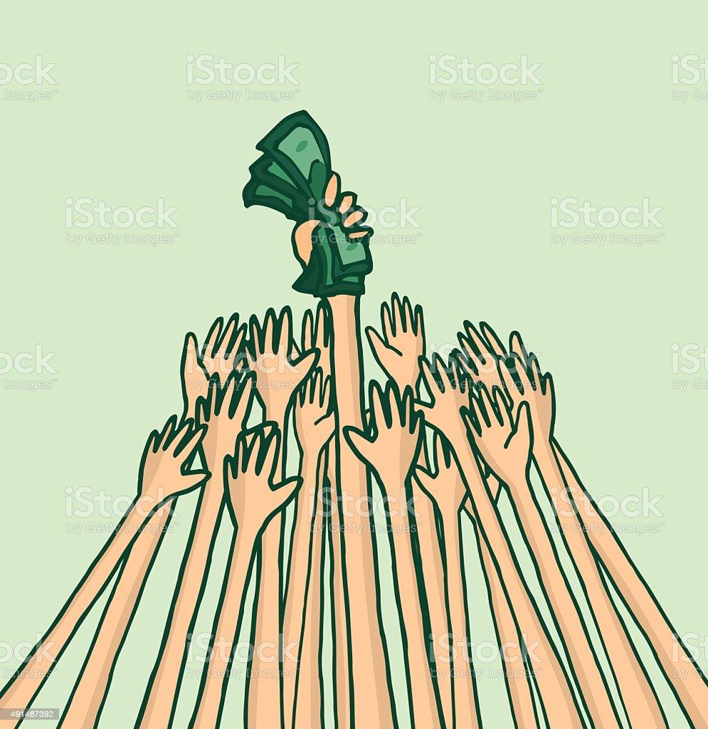 People fighting over business money vector art illustration