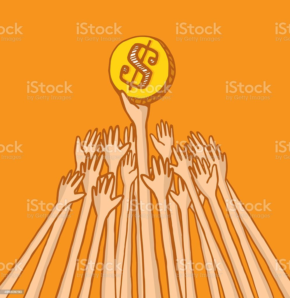 People fighting over coin or money vector art illustration