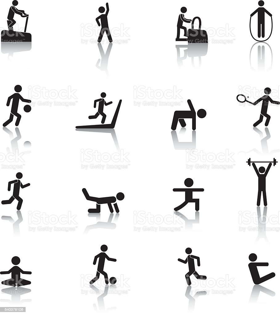 People Fitness Icons vector art illustration