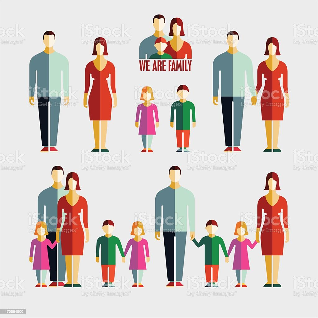 People flat icons. Family flat icons. vector art illustration