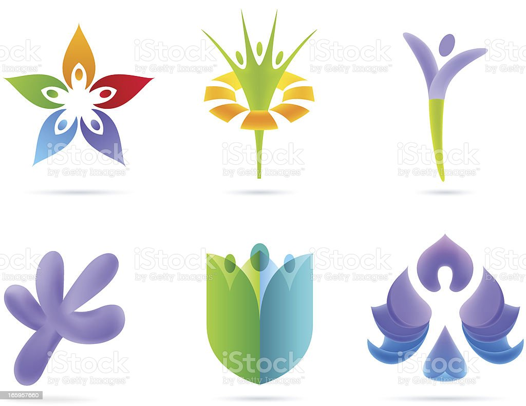 People Flowers Concept vector art illustration