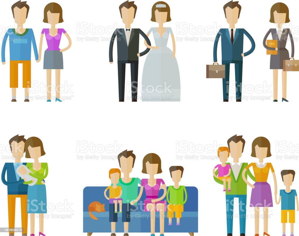 people, folk vector logo design template. wedding, family, nuptial or vector art illustration