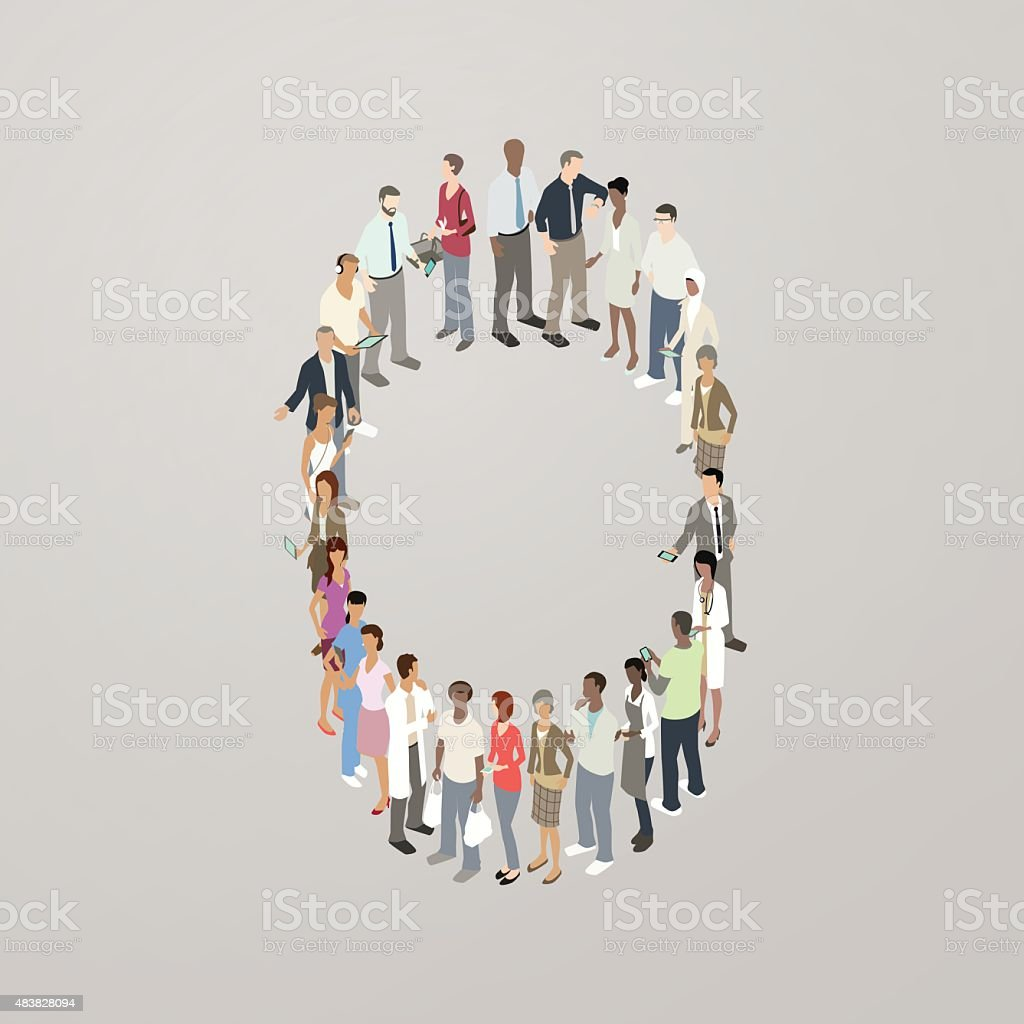 People forming a zero vector art illustration