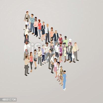 People forming cursor arrow