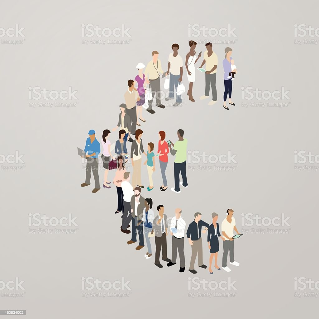 People forming Euro symbol vector art illustration