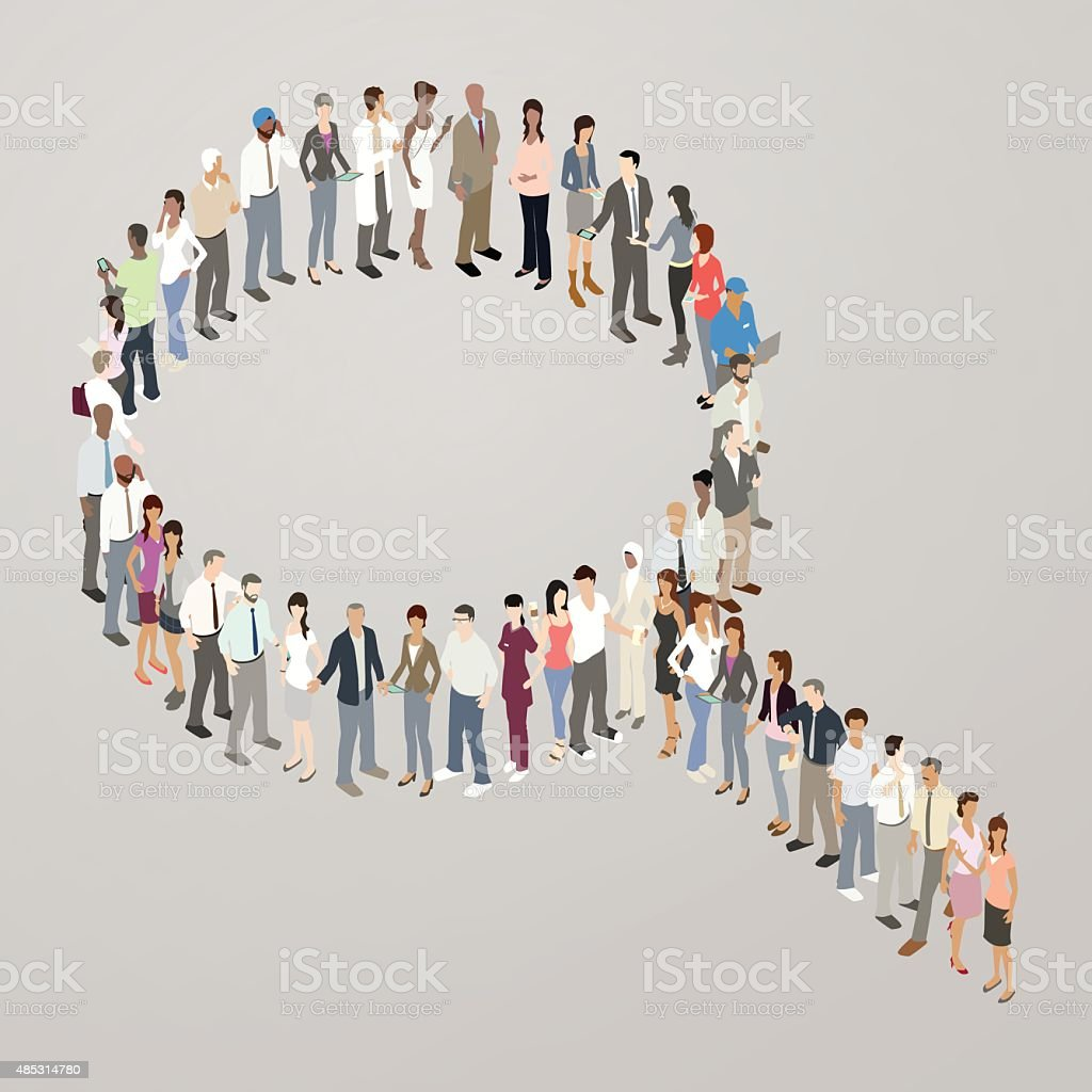 People forming search icon vector art illustration