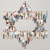 People forming Star of David