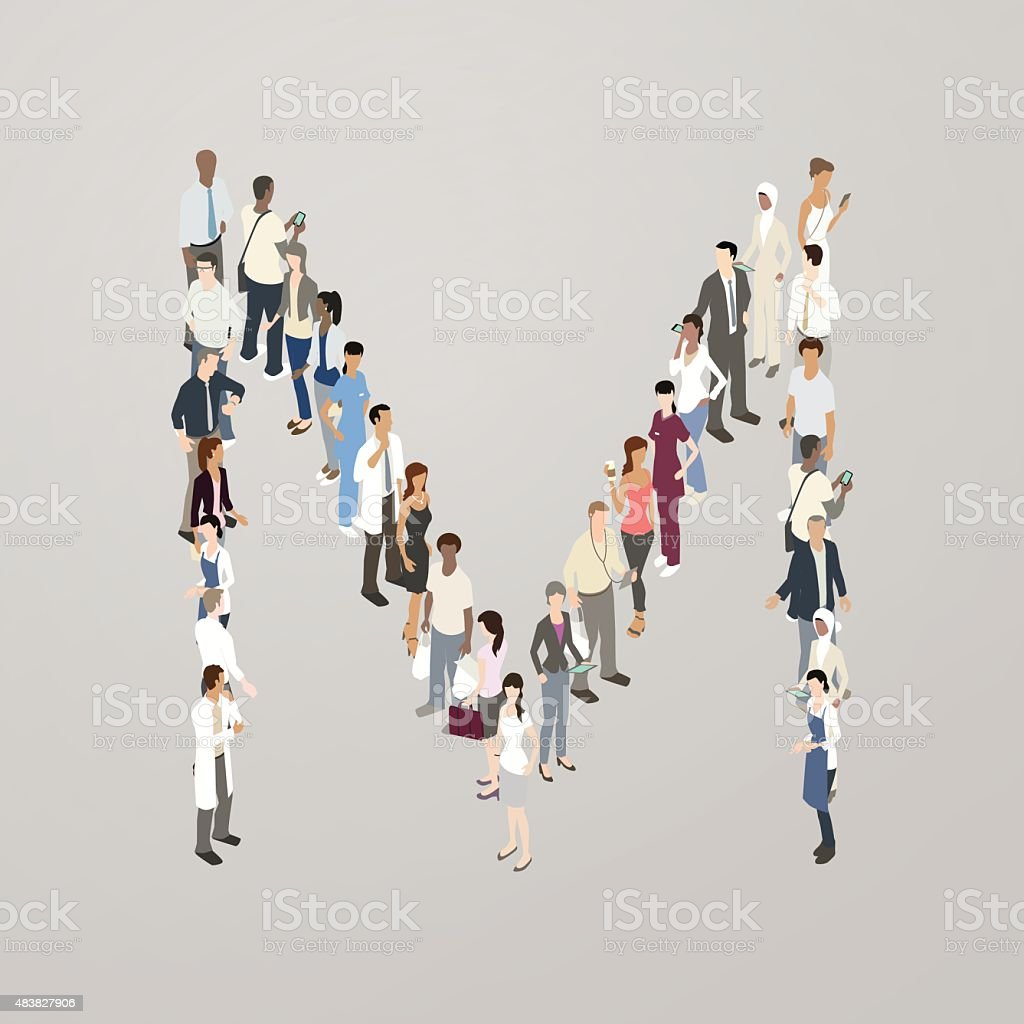 People forming the letter M vector art illustration