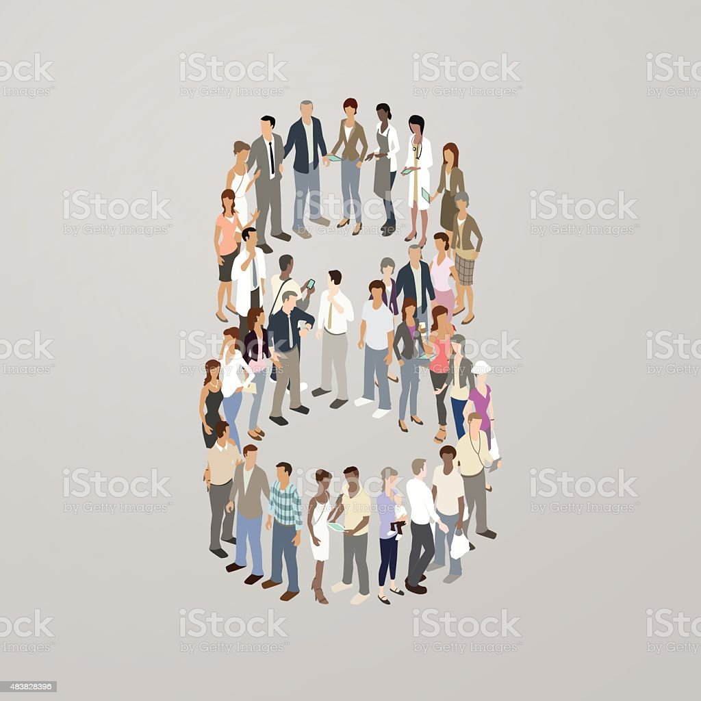 People forming the number 8 vector art illustration