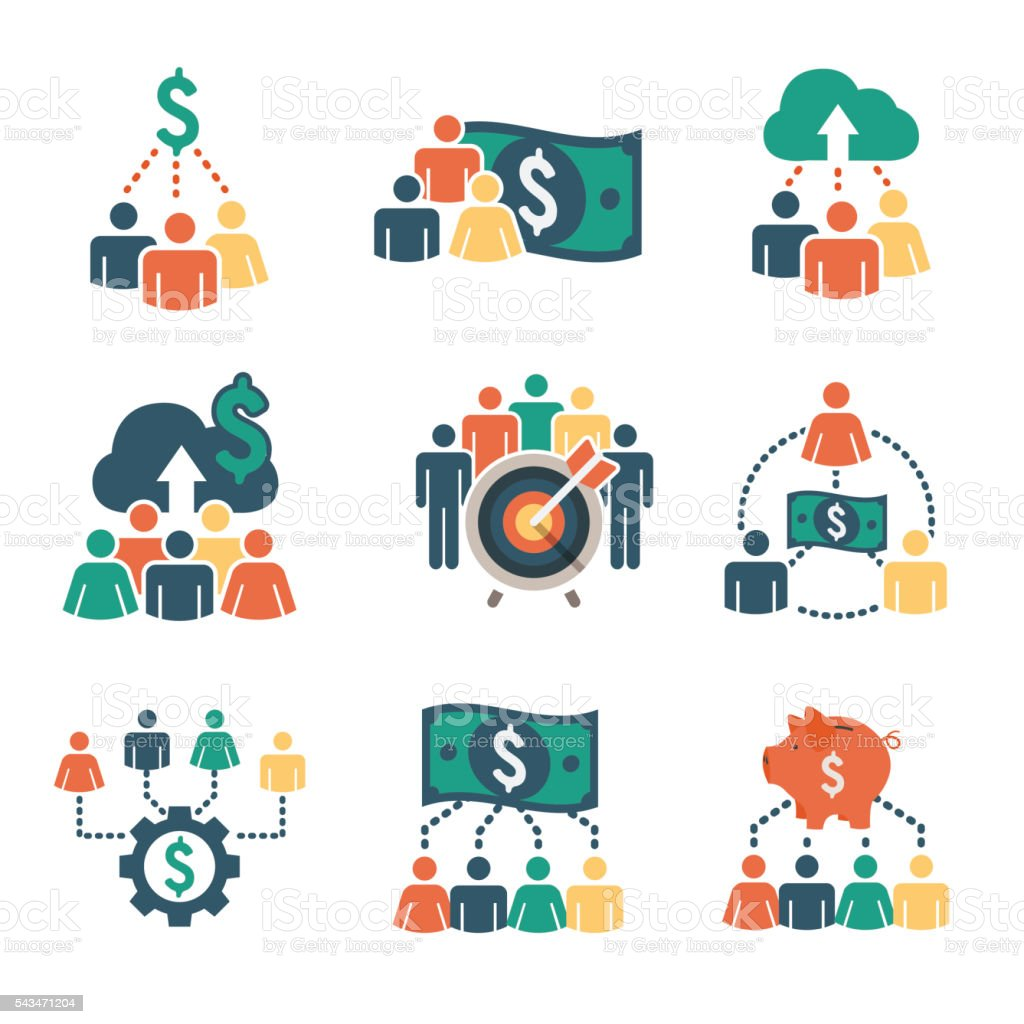 People Funding Different Online Ideas Icon Set vector art illustration