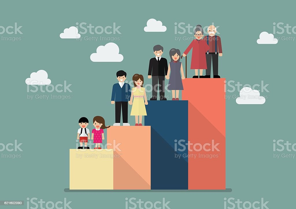 People generations bar graph vector art illustration