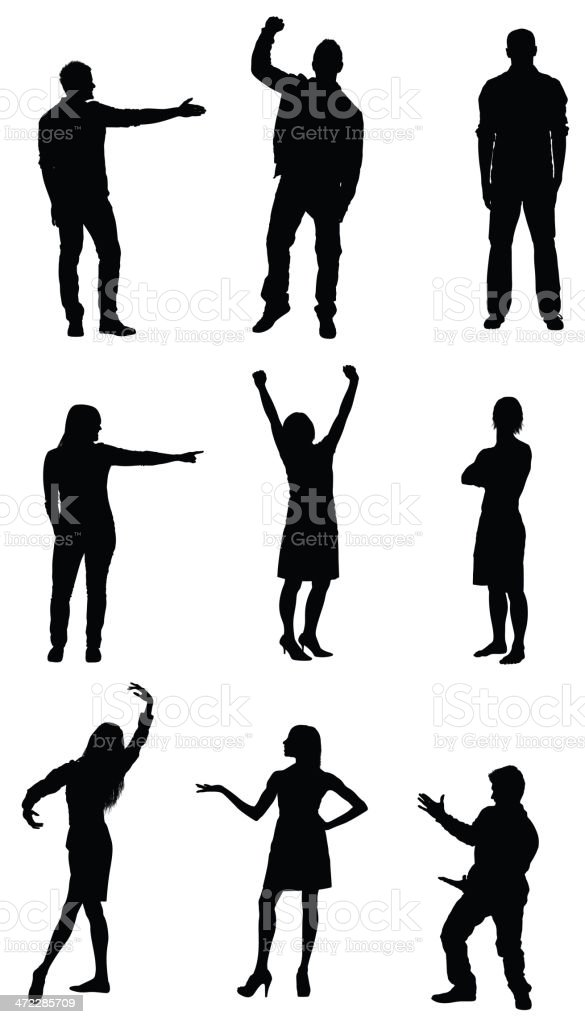 People gesturing vector art illustration