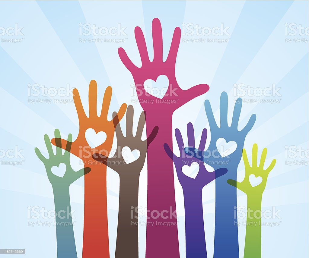 People giving support hand vector art illustration