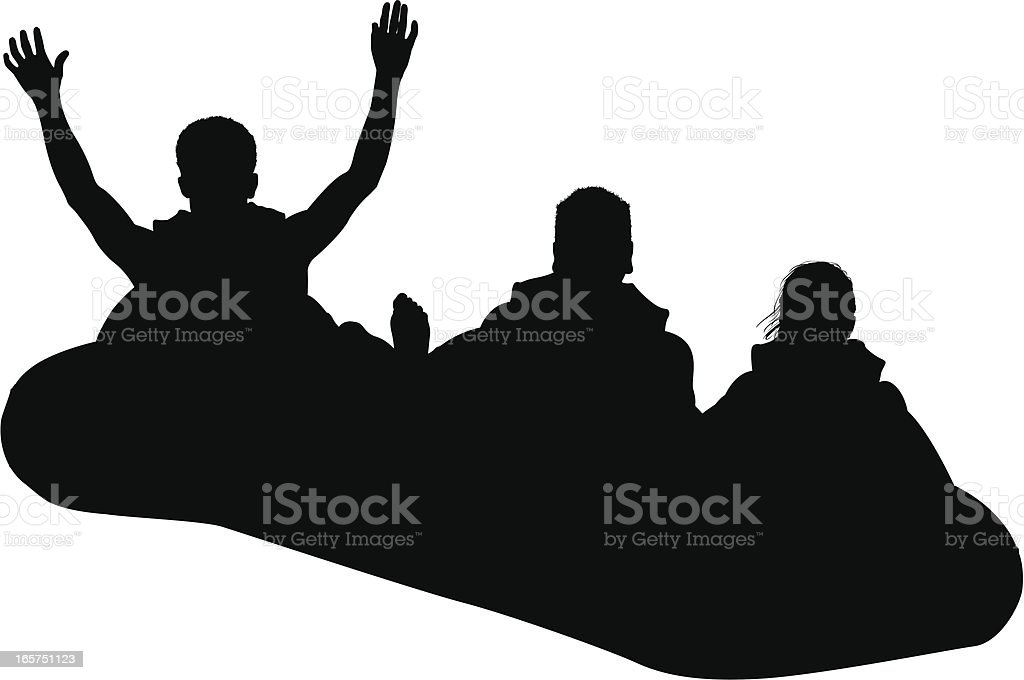 People going for a ride in raft vector art illustration