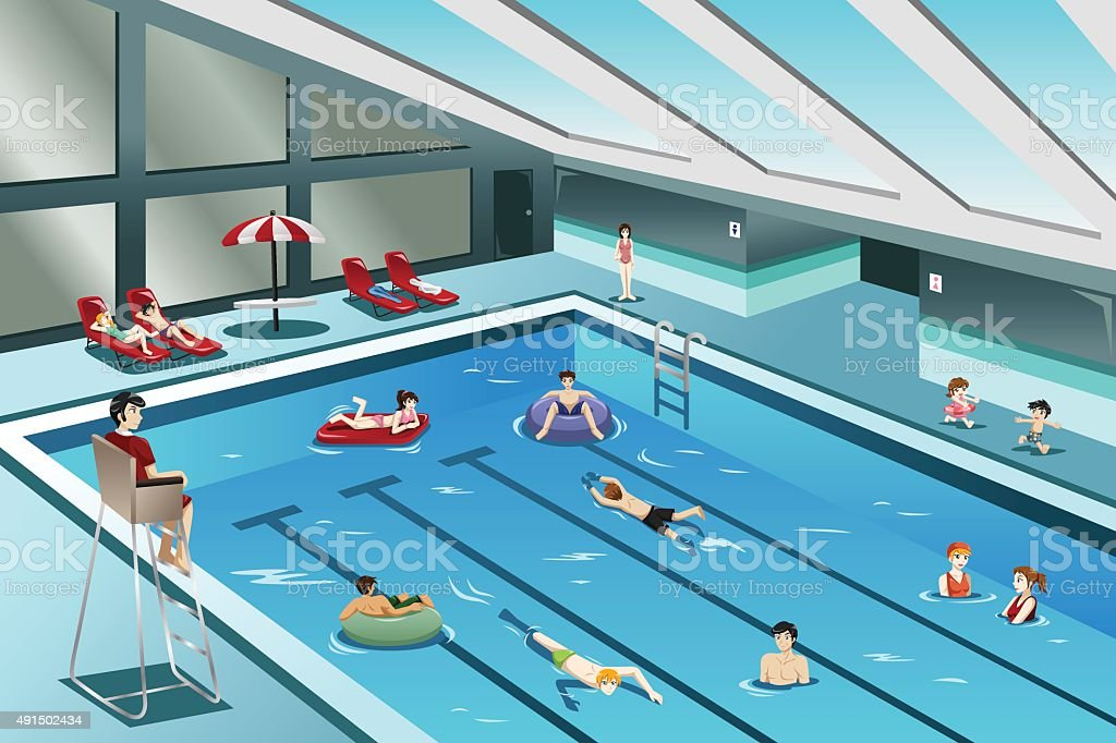 People Going Swimming vector art illustration