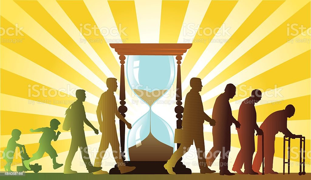People Growing Old and Hourglass - Aging Process vector art illustration
