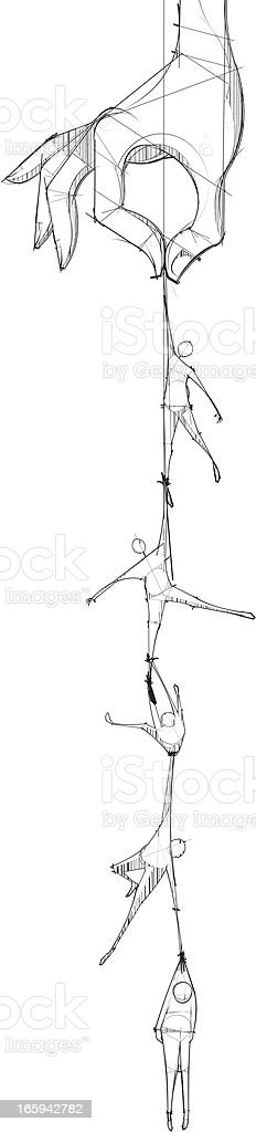 People Hanging From Hand royalty-free stock vector art