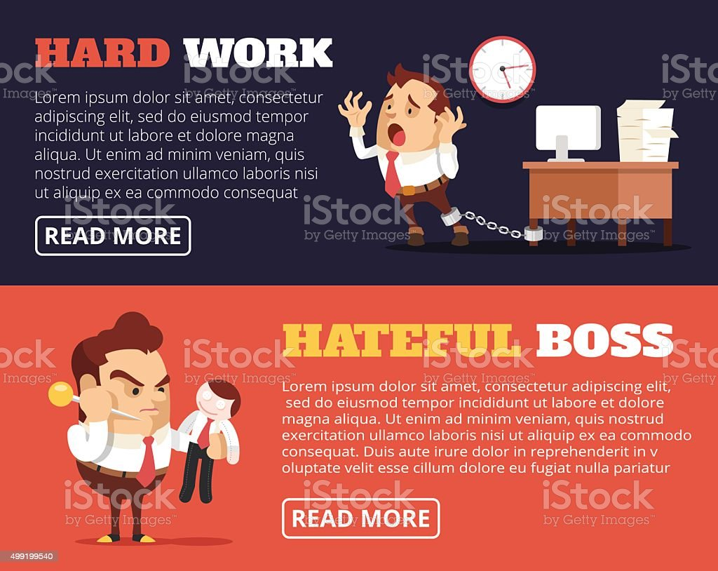 People hate their jobs. Vector flat banner illustration set vector art illustration