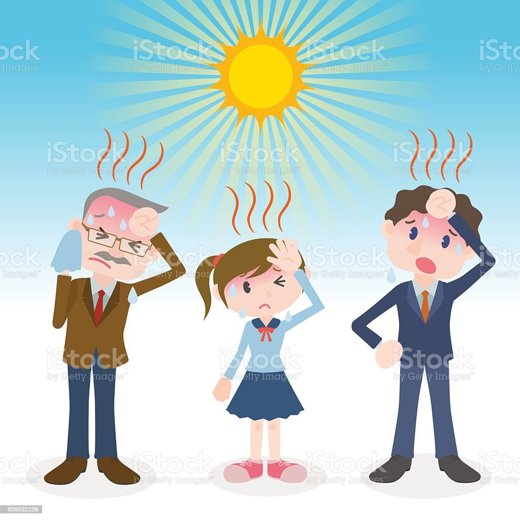 people have a heatstroke, image illustration vector art illustration