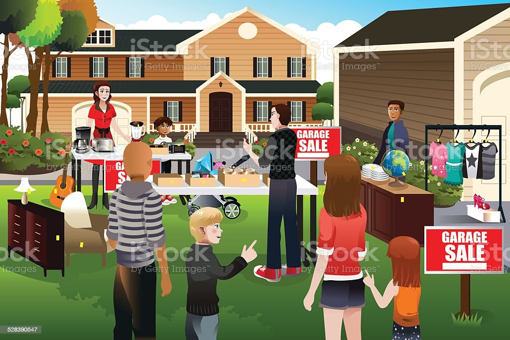 People having a garage sale vector art illustration