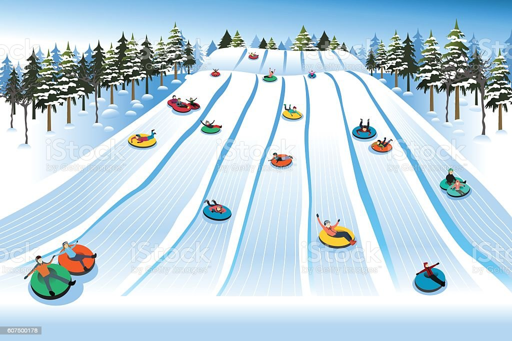 People Having Fun Sledding on Tubing Hill During Winter vector art illustration