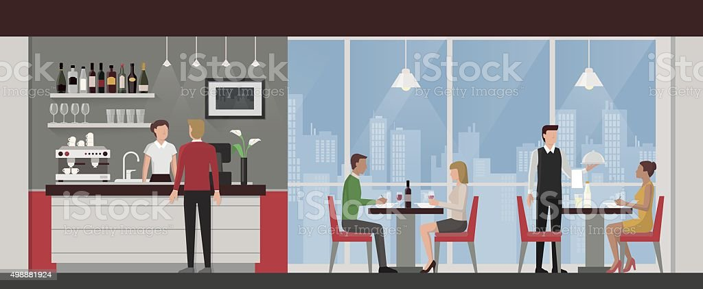 People having lunch in a luxury restaurant vector art illustration