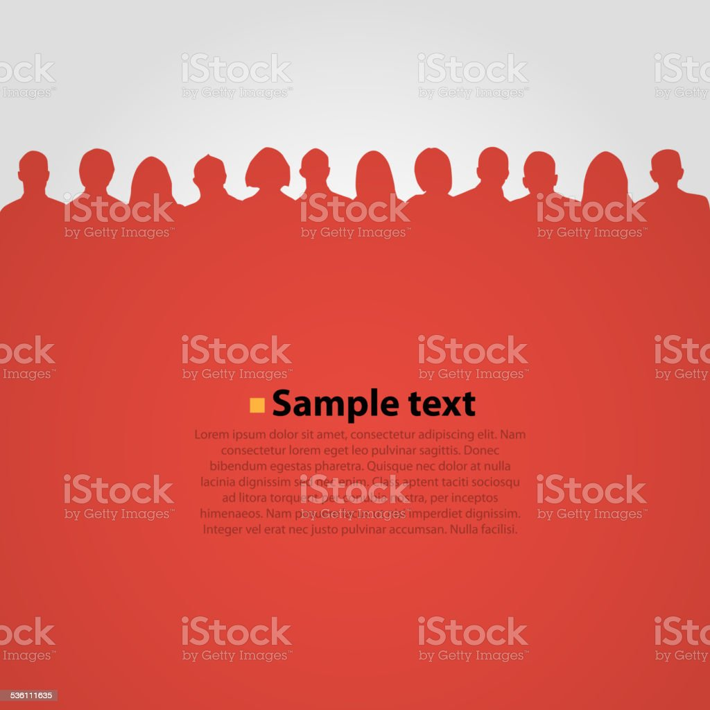 People heads silhouette red background. vector art illustration