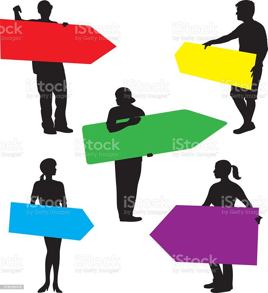 People Holding Arrow Signs Silhouette vector art illustration