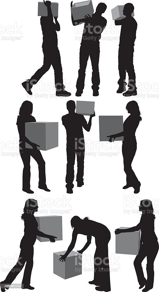 People holding box royalty-free stock vector art