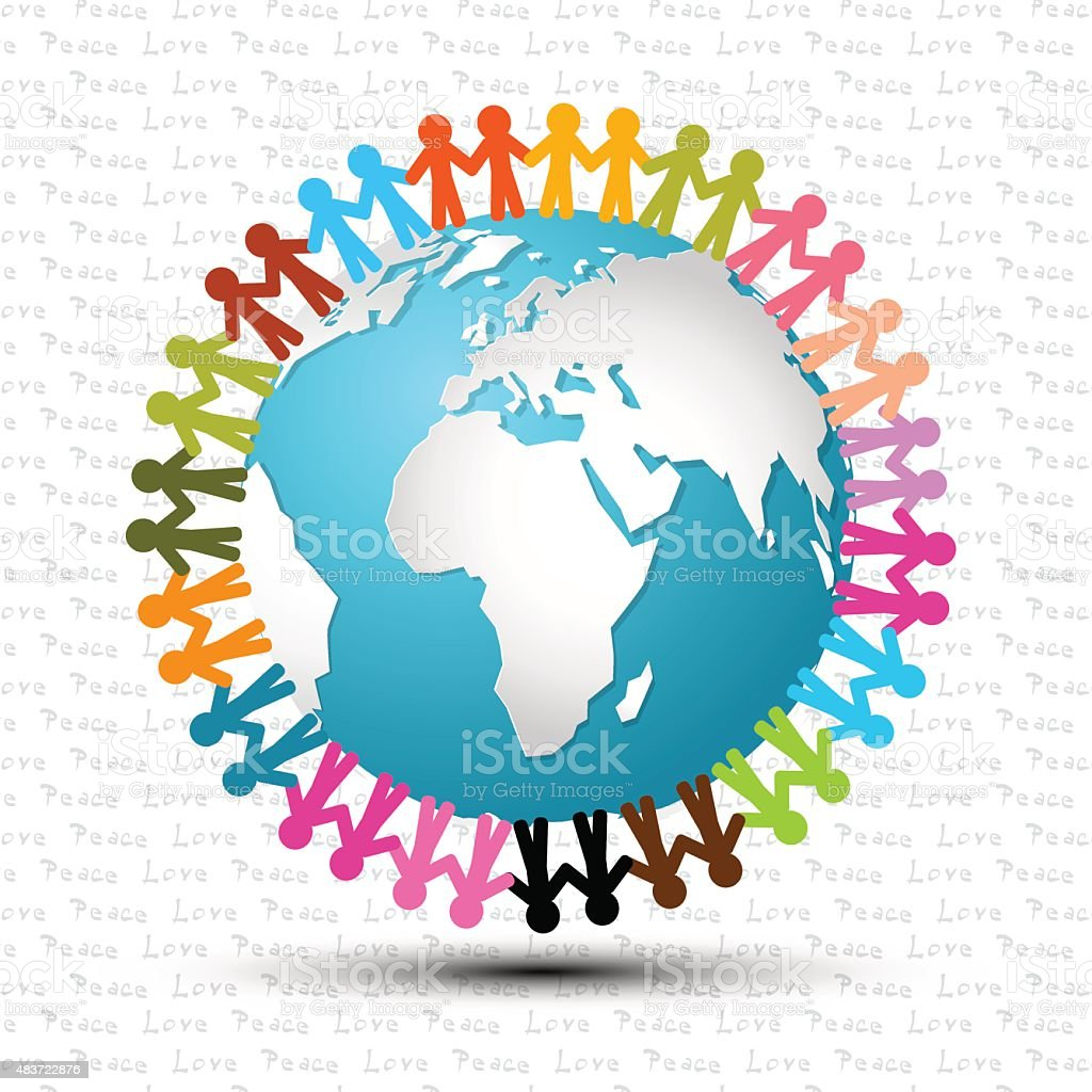People Holding Hands Around the World vector art illustration