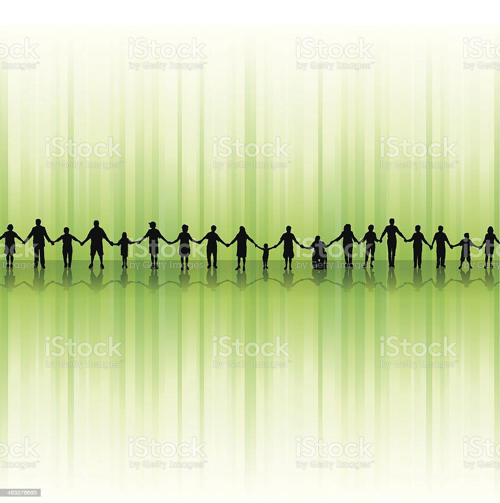 People Holding Hands - United Community Background vector art illustration