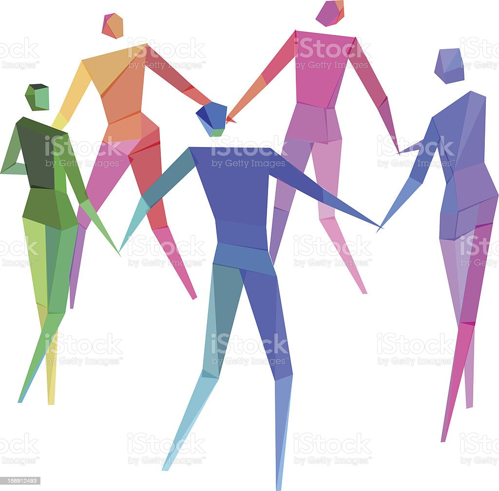 People Holding Hands vector art illustration