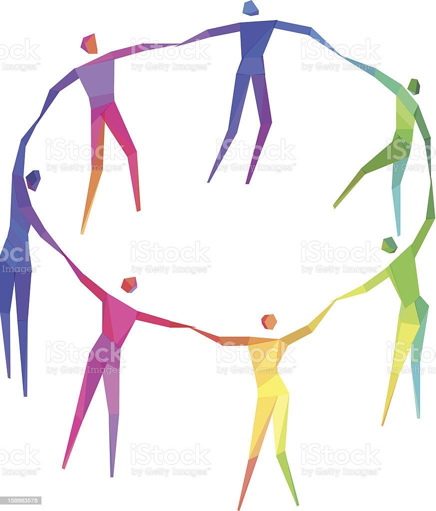 People Holding Hands vector art illustration
