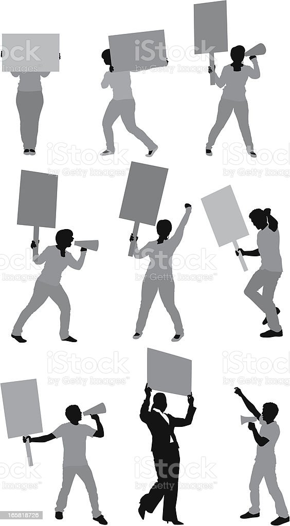 People holding placards and bullhorns royalty-free stock vector art