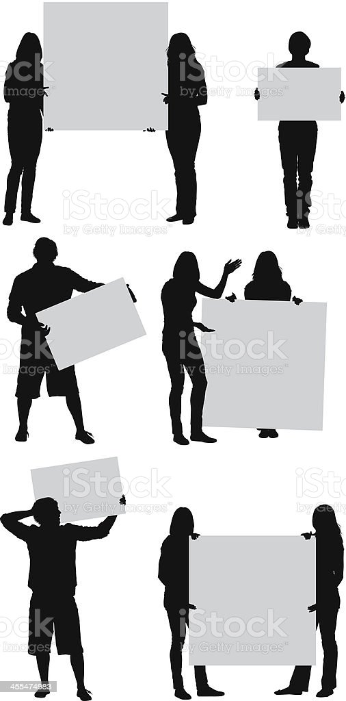 People holding placards vector art illustration