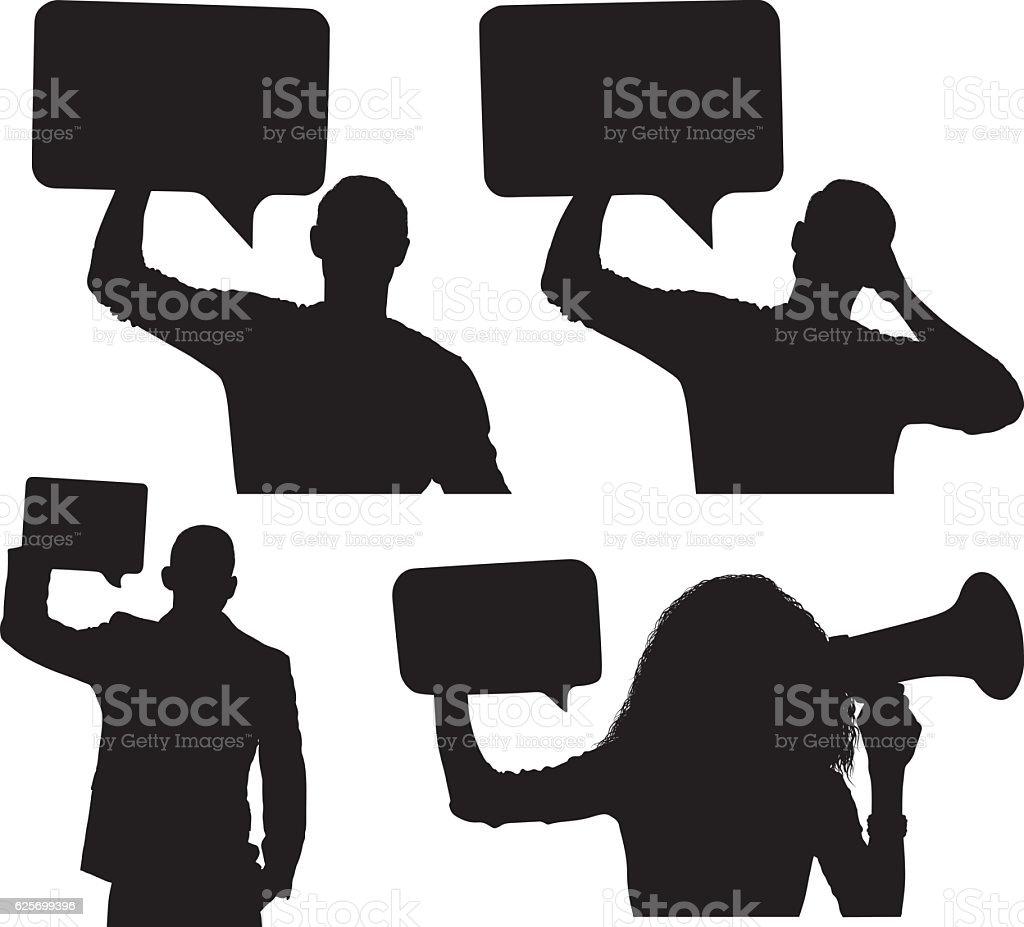 People holding speech bubble vector art illustration