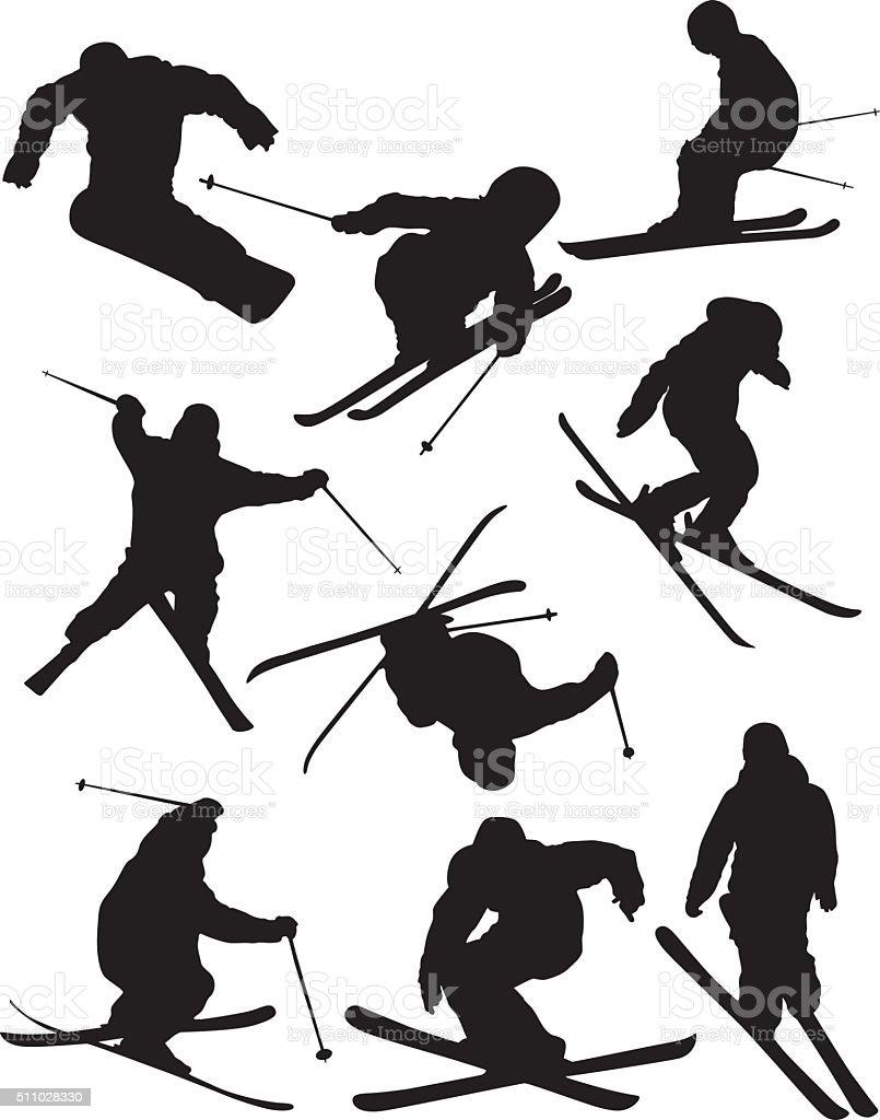 People ice skating vector art illustration