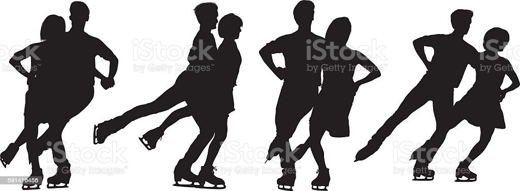 People ice skating vector art illustration