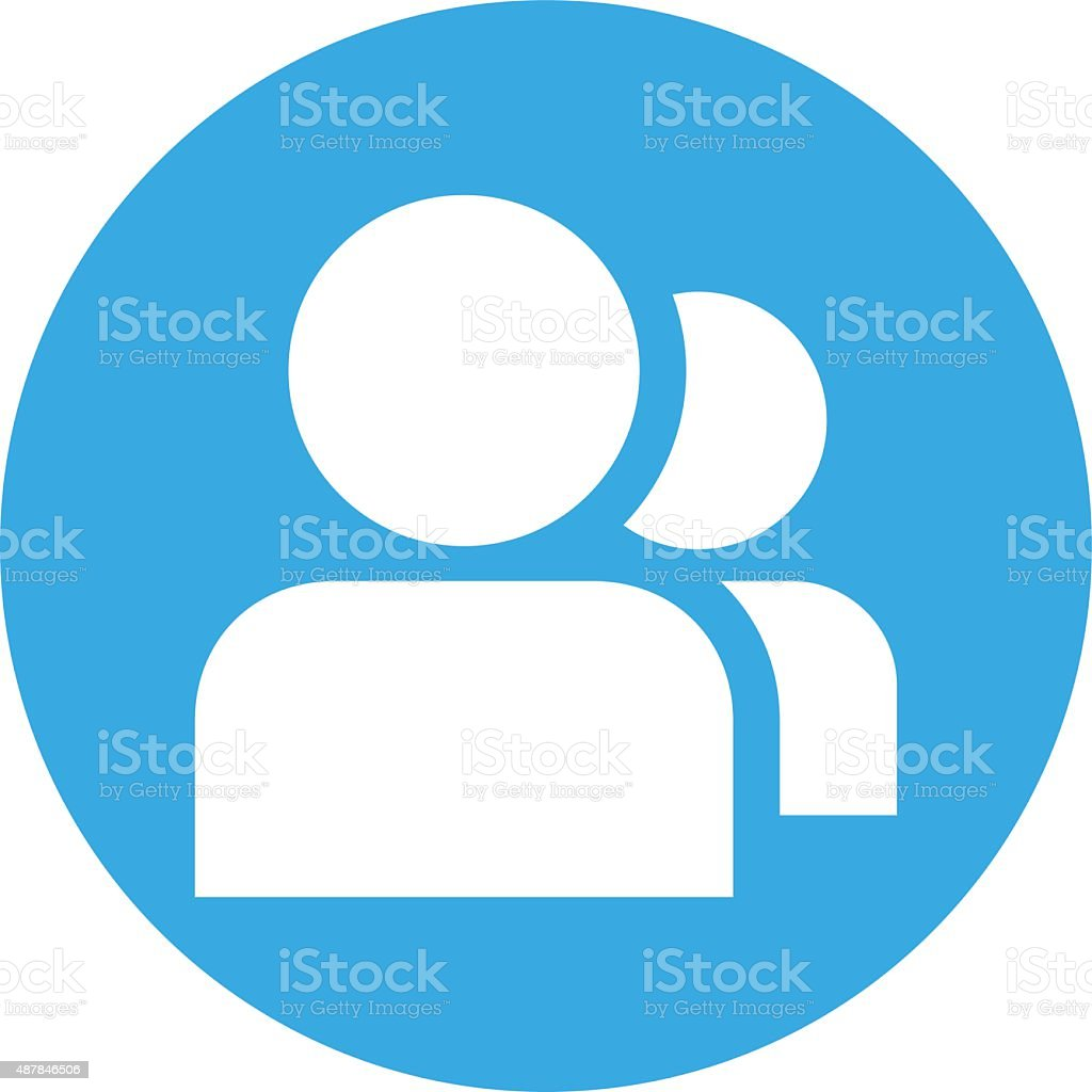 People icon on a round button. vector art illustration