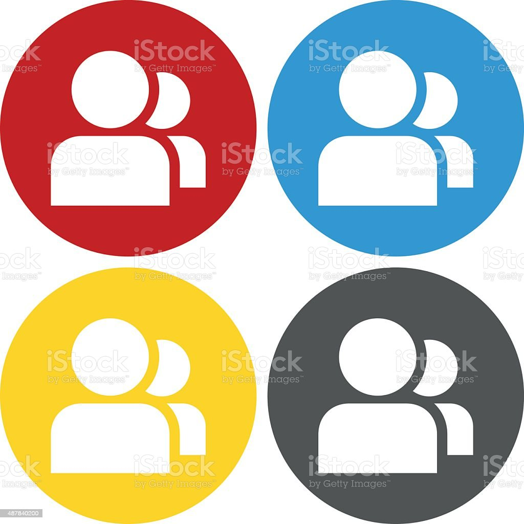 People icon on circle buttons. vector art illustration