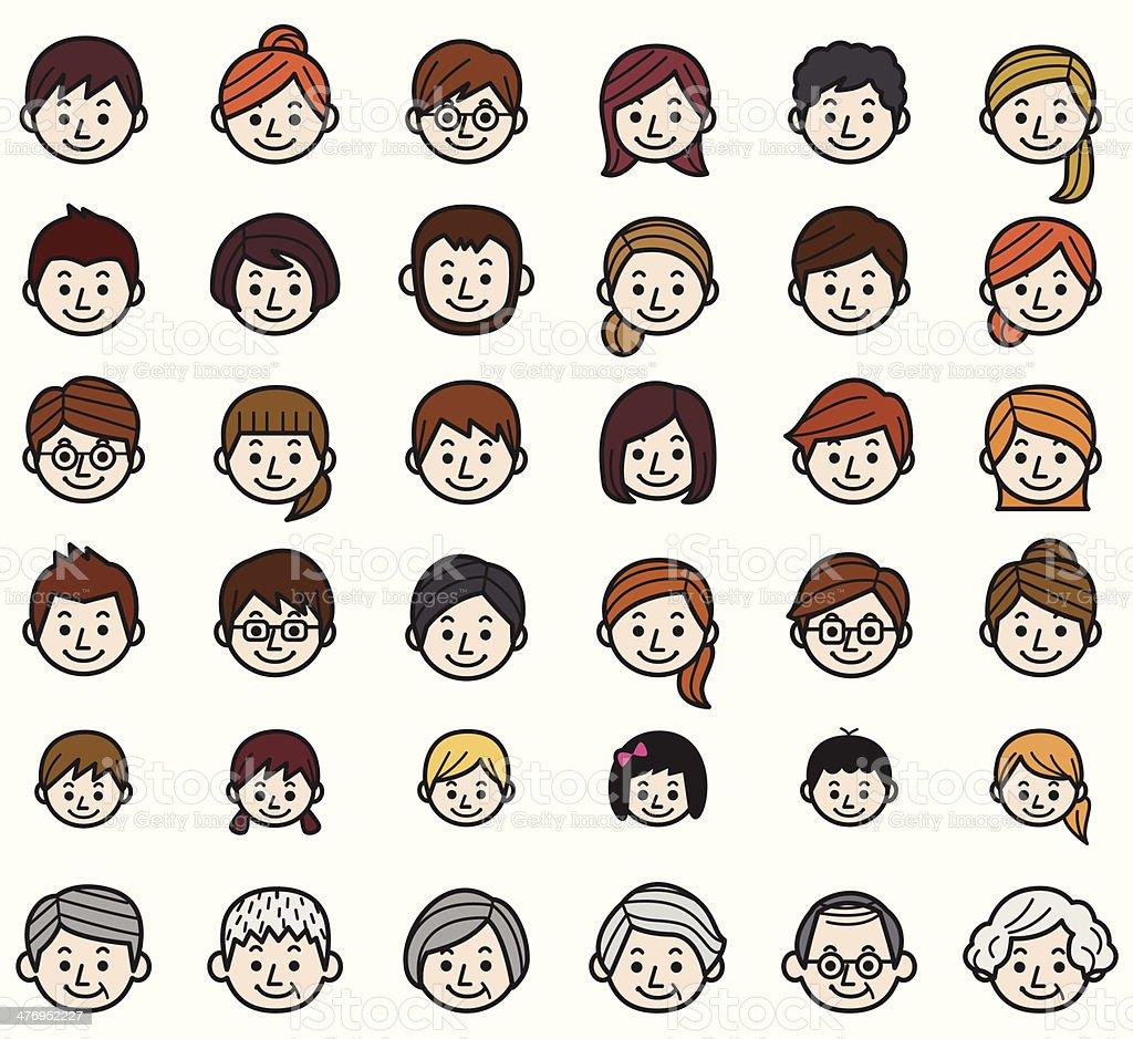People Icon Set vector art illustration