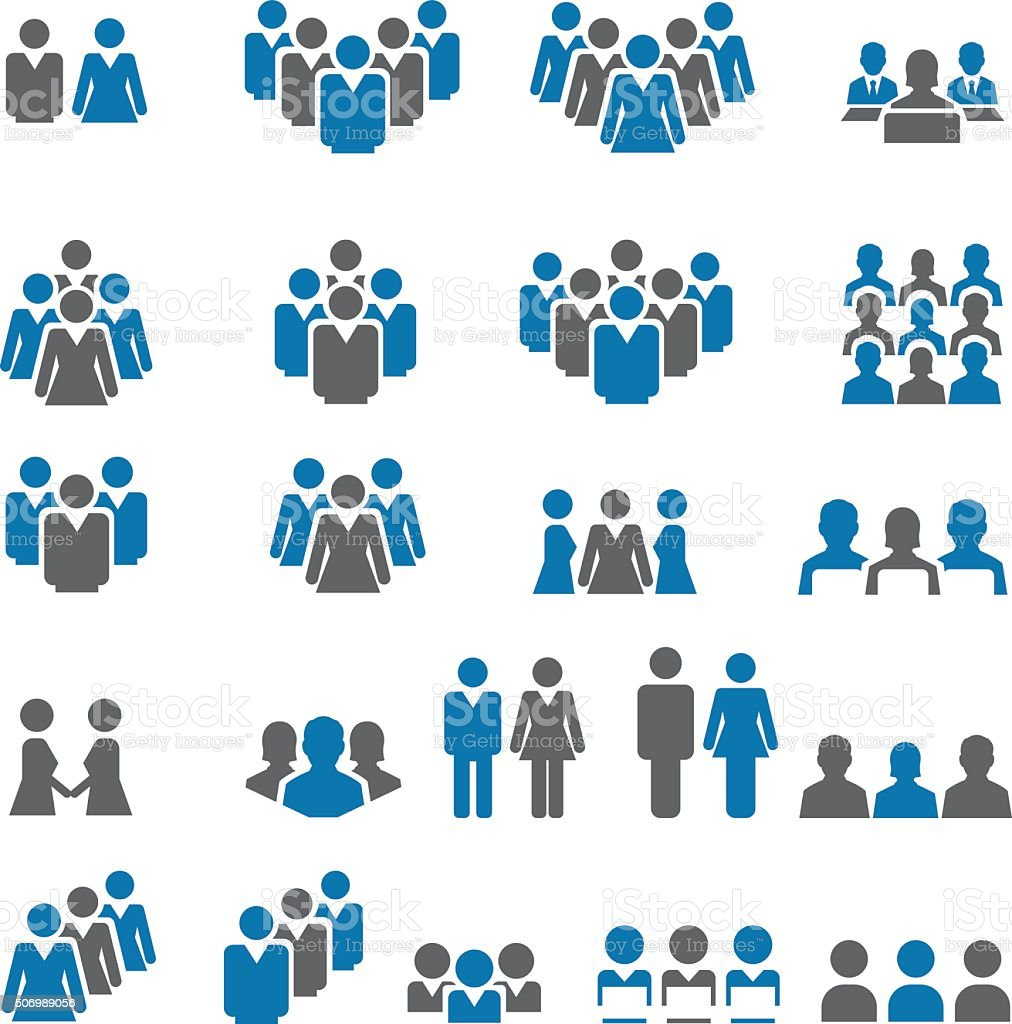 People icon set vector art illustration