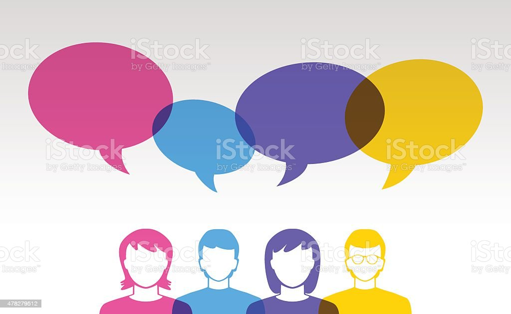people icons and colorful speech bubbles vector art illustration