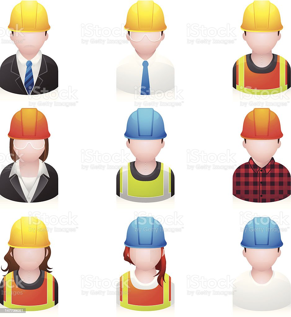 People Icons - Construction vector art illustration