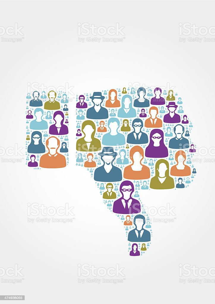 People icons forming a 'dislike' icon royalty-free stock vector art