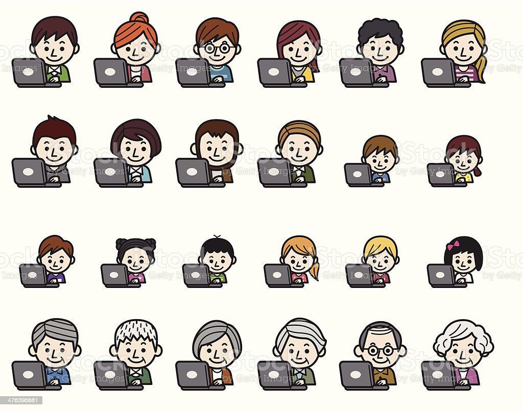 People icons - Laptop vector art illustration